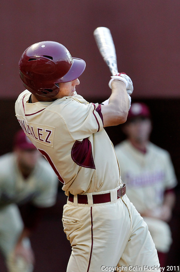 TALLAHASSEE, FL 10-FSU-TAMUBASE11 CH-Florida State's Justin Gonzalez homers and bats in two in the sixth inning against Texas A&M Sunday at Dick Howser Stadium during NCAA Super Regional action in Tallahassee. The Seminoles beat the Aggies 23-9 to stay alive in the best of three series...COLIN HACKLEY PHOTO