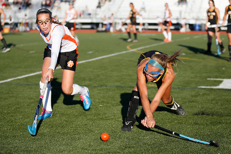 Red Lion's junior Ali Posey, right, swings to keep the ball away from Central York's sophomore Paige Harrold. The Lions defeated the Panthers, 3-2, to close out their field hockey season. (For the Daily Record/Sunday News -- Shane Keller)