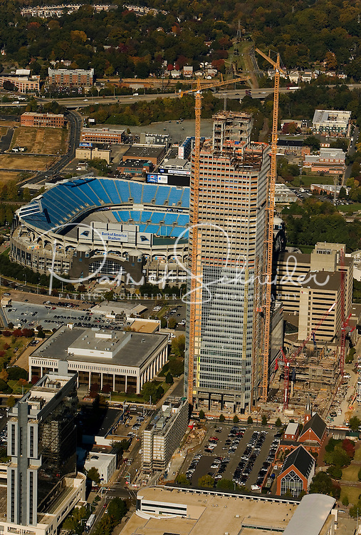 Aerial view of Charlotte's quickly growing downtown.  Prominent in this picture is the tower that was being built by Wachovia for its banking operations.