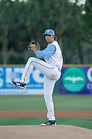 Myrtle Beach Pelicans pitcher Zach Hedges (40) on the mound during a game against the Frederick Keys at Ticketreturn.com Field at Pelicans Ballpark on April 8, 2016 in Myrtle Beach, South Carolina. Frederick defeated Myrtle Beach 5-2. (Robert Gurganus/Four Seam Images)