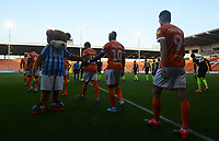 Blackpool's Sullay Kaikai high fives Bloomfield Bear<br /> <br /> Photographer Kevin Barnes/CameraSport<br /> <br /> The Carabao Cup First Round - Blackpool v Macclesfield Town - Tuesday 13th August 2019 - Bloomfield Road - Blackpool<br />  <br /> World Copyright © 2019 CameraSport. All rights reserved. 43 Linden Ave. Countesthorpe. Leicester. England. LE8 5PG - Tel: +44 (0) 116 277 4147 - admin@camerasport.com - www.camerasport.com