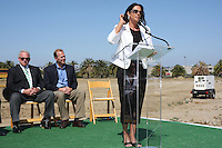 May 30 2008.  Liberty Station, Point Loma, CA, USA.  San Diego City Mayor Jerry Sanders and Councilmember (District 2) Kevin Faulconer listens as Director of San Diego Parks & Recreation, Stacey Lomedico speaks during a ground breaking ceremony for Phase 2 of the NTC Park development at Liberty Station.   The 28 acre park will include landscape for passive uses, two large pinic areas, benches & barbeques, restrooms, a playground, walking trails, large open spaces and open spaces.  It is anticipated to be completed by Summer 2009.