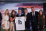 Real Madrid's new soccer player Mateo Kovacic (3R) poses with club President Florentino Perez and his family during his official presentation at the Santiago Bernabeu stadium in Madrid, Spain. August 19, 2015. (ALTERPHOTOS/Victor Blanco)