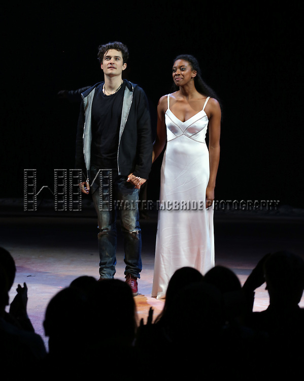 "Orlando Bloom and Condola Rashad during the ""Romeo And Juliet"" On Broadway First Performance Curtain Call at the Richard Rodgers Theatre in New York City on 8/24/2013"