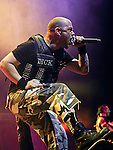 Vocalist IVAN MOODY of Five Finger Death Punch performs live at Riverbend Music Center in Cincinnati, Ohio on October 17, 2010.