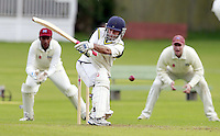Bhavik Thakkar bats for Harrow Town during the ECB Middlesex Division Three game between Highgate and Harrow Town at Park Road, Crouch End on Saturday May 24, 2014