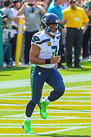 Seattle Seahawks quarterback Russell Wilson (3) during a National Football League game against the Green Bay Packers on September 10, 2017 at Lambeau Field in Green Bay, Wisconsin. Green Bay defeated Seattle 17-9. (Brad Krause/Krause Sports Photography)
