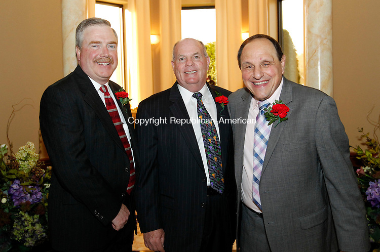 Waterbury, CT- 02 May 2013-050213CM09-  SOCIAL MOMENTS--  Left to right, Bill Campion, president of the board of directors, Joe McGrath, past president of the board of directors and Frank Longo, chairman of the event,  photographed during the 32nd Annual Boys & Girls Clubs of Greater Waterbury Awards and Scholarship Dinner at LaBella Vista - Pontelandolfo Club in Waterbury.    Christopher Massa Republican-American