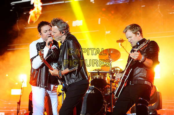 SOUTHAMPTON, ENGLAND - MAY 29: Simon Le Bon, John Taylor and Dominic Brown of 'Duran Duran' performing at Common People Festival, Southampton Common on May 29, 2016 in London, England.<br /> CAP/MAR<br /> &copy;MAR/Capital Pictures