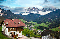 Hotel overlooking Val di Funne and the Olde Range in the Dolomite Alps of South Tyrol in Northern Italy