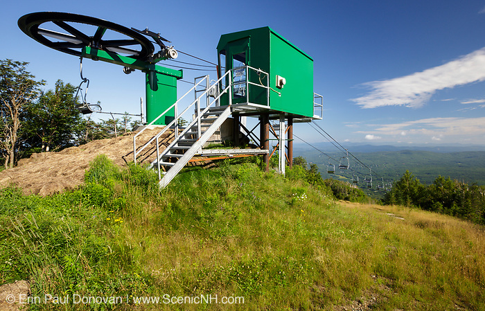 Chairlift on Mittersill Mountain in the New Hampshire White Mountains during the summer months. The Mittersill-Cannon Trail passes by this chairlift.