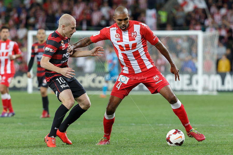 Orlando ENGELAAR of the Heart protects the ball in the round 27 match between Melbourne Heart and  the Western Sydney Wanderers in the Australian Hyundai A-League 2013-24 season at AAMI Park, Melbourne, Australia. Photo Sydney Low/Zumapress<br /> <br /> This image is not for sale on this web site. Please visit zumapress.com for licensing