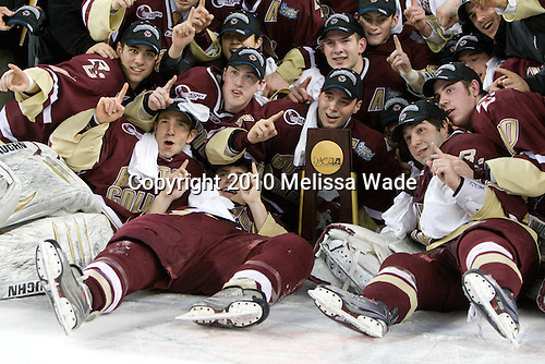- The Boston College Eagles defeated the University of Wisconsin Badgers 5-0 to win the NCAA Division 1 national championship at the 2010 Frozen Four on Saturday, April 10, 2010, at Ford Field in Detroit, Michigan.
