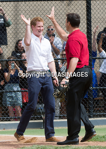 """PRINCE HARRY AND MARK TEIXEIRA.at the Harlem RBI a baseball program for inner cities..The Prince was shown round by Yankees first baseman Mark Teixeira and had a game with the kids_14/05/2013.Prince Harry is on a week long USA visit the includes Washington, Denver, Colorado Springs, New Jersey, New York and Conneticut..Mandatory credit photo:©DIASIMAGES..NO UK USE UNTIL 13/6/2013.(Failure to credit will incur a surcharge of 100% of reproduction fees)..**ALL FEES PAYABLE TO: """"NEWSPIX  INTERNATIONAL""""**..Newspix International, 31 Chinnery Hill, Bishop's Stortford, ENGLAND CM23 3PS.Tel:+441279 324672.Fax: +441279656877.Mobile:  07775681153.e-mail: info@newspixinternational.co.uk"""