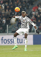 Juventus' Paul Pogba controls the ball during the Italian Serie A football match between Juventus and Roma at Juventus Stadium.