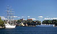 Sweden, Stockholm: Af Chapman, a Swedish full rigged ship made of iron, today a youth hostel at Skeppsholmen | Schweden, Stockholm: die Af Chapman, ein schwedisches  Vollschiff aus Eisen, heute eine Jugendherberge in Skeppsholmen
