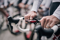setting the SRM power meter before rolling out<br /> <br /> Team Trek-Segafredo preparing for a coffee/training-ride 1 day before the start of the 104th Tour de France 2017 <br /> &quot;Le Grand D&eacute;part&quot; in D&uuml;sseldorf/Germany