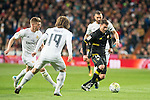 Real Madrid's Toni Kroos (L), Luka Modric and Karim Benzema and Sevilla FC's Sebastian Cristoforo during La Liga match. March 20,2016. (ALTERPHOTOS/Borja B.Hojas)