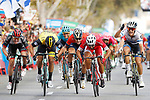 Nacer Bouhanni (FRA) Cofidis wins the sprint for Stage 6 of the La Vuelta 2018, running 150.7km from Hu&eacute;rcal-Overa to San Javier, Mar Menor, Sierra de la Alfaguara, Andalucia, Spain. 30th August 2018.<br /> Picture: Unipublic/Photogomezsport | Cyclefile<br /> <br /> <br /> All photos usage must carry mandatory copyright credit (&copy; Cyclefile | Unipublic/Photogomezsport)