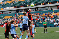Rochester, NY - Saturday May 21, 2016: Western New York Flash forward Jessica McDonald (14) and Sky Blue FC forward Tasha Kai (32) go up for a header. The Western New York Flash defeated Sky Blue FC 5-2 during a regular season National Women's Soccer League (NWSL) match at Sahlen's Stadium.