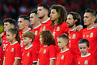 Players of Wales sing the anthem during the UEFA Euro 2020 Qualifier match between Wales and Azerbaijan at the Cardiff City Stadium in Cardiff, Wales, UK. Friday 06, September 2019