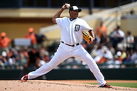 Detroit Tigers pitcher Alfredo Simon (31) during a Spring Training game against the Miami Marlins on March 25, 2015 at Joker Marchant Stadium in Lakeland, Florida.  Detroit defeated Miami 8-4.  (Mike Janes/Four Seam Images)