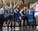 SIOUX FALLS, SD: MARCH 19:  Players on the MSU Billings bench celebrate a 3-point score against Ashland during their game at the 2018 Division II Women's Elite 8 Basketball Championship at the Sanford Pentagon in Sioux Falls, S.D. (Photo by Dick Carlson/Inertia)