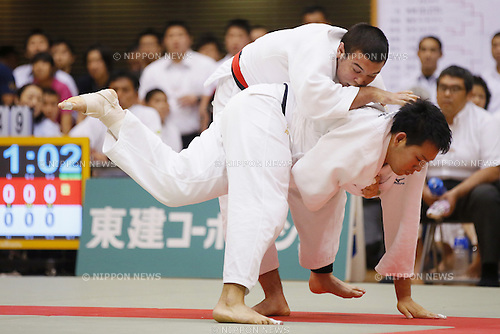 (L-R) Wolf Aaron, Ryutaro Goto, September 14, 2014 - Judo : All Japan Junior Judo Championships Men's -100kg Final at Saitama Prefectural Budokan, Saitama, Japan. (Photo by Yusuke Nakanishi/AFLO SPORT) [1090]