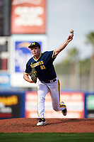 Michigan Wolverines starting pitcher Evan Hill (21) during the second game of a doubleheader against the Canisius College Golden Griffins on February 20, 2016 at Tradition Field in St. Lucie, Florida.  Michigan defeated Canisius 3-0.  (Mike Janes/Four Seam Images)