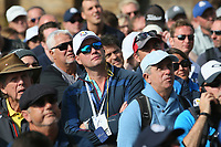 Fans looking dejected as USA romp to a 3-1 lead during Friday's Fourballs, at the Ryder Cup, Le Golf National, Îls-de-France, France. 28/09/2018.<br /> Picture David Lloyd / Golffile.ie<br /> <br /> All photo usage must carry mandatory copyright credit (© Golffile | David Lloyd)