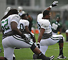 Ryan Clady #78 of the New York Jets, right, stretches during the start of a day of team training camp at Atlantic Health Jets Training Center in Florham Park, NJ on Wednesday, Aug. 3, 2016.
