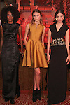 Models pose in outfits from the Josie Natori Fall 2016 collection, at the Doubles Club in the Sherry Netherland Hotel on February 10, 2016, during New York Fashion Week Fall 2016.