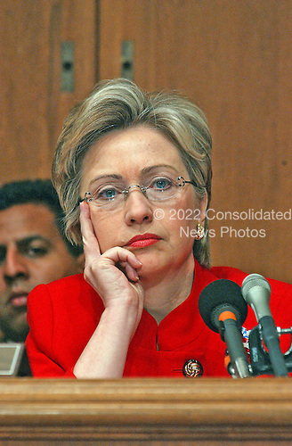 """United States Senator Hillary Rodham Clinton (Democrat of New York) questions Mitchell E.  """"Mitch"""" Daniels, Jr., Director, Office of Management and Budget, during a hearing of the United States Senate Budget Committee in Washington, D.C. on February 5, 2002.  The Committee was questioning Daniels about United States President George W. Bush's proposed budget request for Fiscal Year 2003.<br /> Credit: Ron Sachs / CNP"""