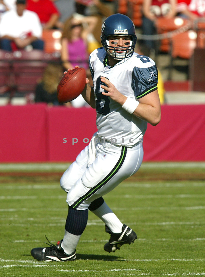 Matt Hasselbeck, of the Seattle Seahhawks, in action during their game against the  San Francisco 49ers on November 11, 2005.  .Rob Holt / SportPics..Seahawks  win 27-25