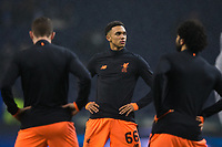 Liverpool's Trent Alexander-Arnold during the pre-match warm-up <br /> <br /> Photographer Craig Mercer/CameraSport<br /> <br /> UEFA Champions League Round of 16 First Leg - FC Porto v Liverpool - Wednesday 14th February 201 - Estadio do Dragao - Porto<br />  <br /> World Copyright &copy; 2018 CameraSport. All rights reserved. 43 Linden Ave. Countesthorpe. Leicester. England. LE8 5PG - Tel: +44 (0) 116 277 4147 - admin@camerasport.com - www.camerasport.com