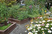 Garden design of intensive raised organic vegetable beds with flowers and herbs radiating around flower garden