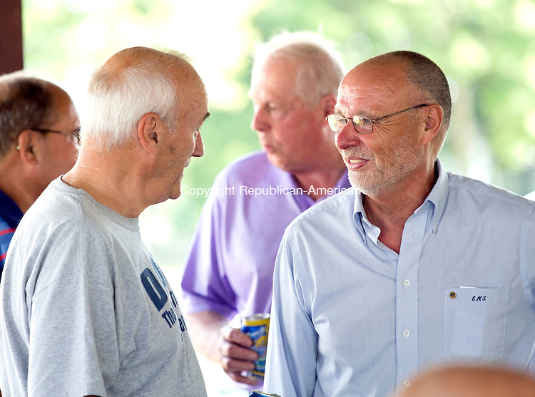 Terryville, CT- 14 June 2015-061415CM14-  Martin Sandshaw, right, chats with Dave Mischke of Terryville  at the Terryville Fairgrounds on Sunday.  Sandshaw was recently named the Plymouth Republican Town Committee's volunteer of the year. The award is not based on political affiliation, even though Sandshaw is a member of the committee. Sandshaw is also head of the local Lions Club chapter and was the head organizer for both the Plymouth and Terryville Memorial Day celebrations. Sandshaw was honored picnic and given a plaque for the honor.  Christopher Massa Republican-American