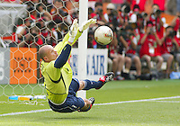 Brad Friedel makes a penalty kick stop. The USA tied South Korea, 1-1, during the FIFA World Cup 2002 in Daegu, Korea.