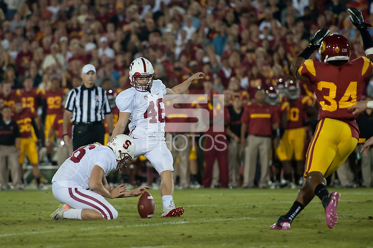 LOS ANGELES, CA - October 29, 2011:  Eric Whitaker during play against USC at the LA Coliseum in Los Angeles, CA.  Stanford won in triple overtime, 56 -48, and extended its winning streak to 16 games.