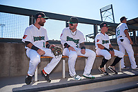 Mason McCoy (20), Nick Banks (3), and Rylan Bannon (1), of the Surprise Saguaros, before the Arizona Fall League Championship Game against the Salt River Rafters on October 26, 2019 at Salt River Fields at Talking Stick in Scottsdale, Arizona. The Rafters defeated the Saguaros 5-1. (Zachary Lucy/Four Seam Images)