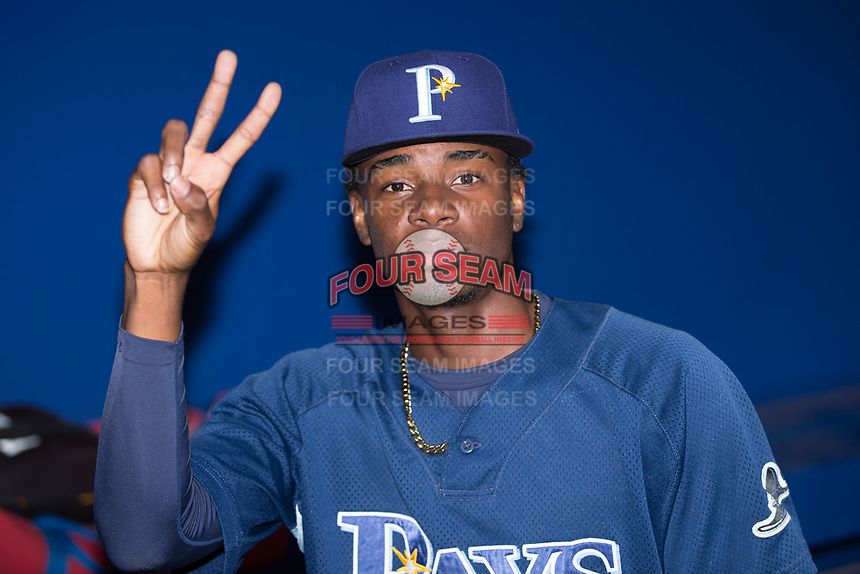 Reynier Montero (37) of the Princeton Rays poses for the camera prior to the game against the Danville Braves at American Legion Post 325 Field on June 25, 2017 in Danville, Virginia.  The Braves walked-off the Rays 7-6 in 11 innings.  (Brian Westerholt/Four Seam Images)