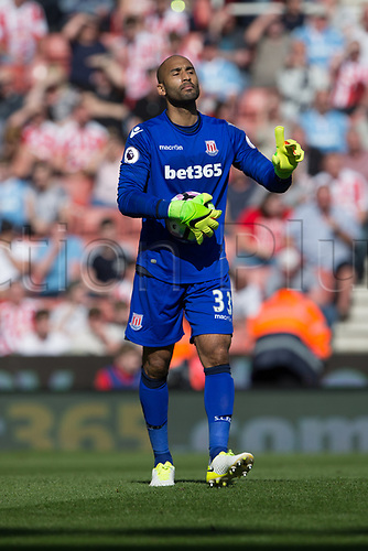 April 8th 2017, bet365 Stadium, Stoke on Trent, Staffordshire, England; EPL Premier League football, Stoke City versus Liverpool; Stoke City's goalkeeper Lee Grant shows he is not happy with his defenders