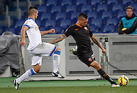 Calcio, Tim Cup: Roma vs Empoli. Ottavi di finale a gara unica. Roma, stadio Olimpico, 20 gennaio 2015.<br /> Roma's Jose' Holebas is challenged by Empoli's Vincent Laurini, left, during the Italian Cup round of 16 football match between Roma and Empoli at Rome's Olympic stadium, 20 January 2015.<br /> UPDATE IMAGES PRESS/Riccardo De Luca
