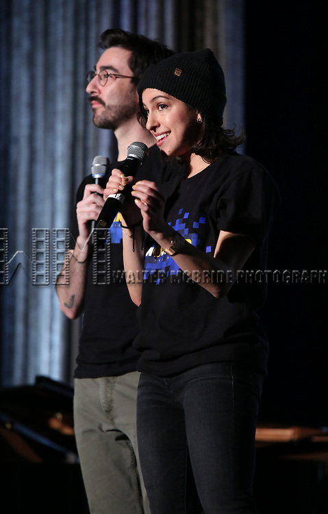 """Max Crumm and Laura Schein from """"Emojiland"""" during the BroadwayCON 2020 First Look at the New York Hilton Midtown Hotel on January 24, 2020 in New York City."""