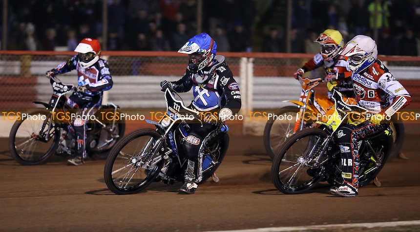 Heat 2: Adam Ellis (blue), Darryl Ritchings (white), Matt Williamson (yellow) and Ben Morley (red) - Lakeside Hammers vs Swindon Robins, Elite League Speedway at the Arena Essex Raceway, Pufleet - 28/03/14 - MANDATORY CREDIT: Rob Newell/TGSPHOTO - Self billing applies where appropriate - 0845 094 6026 - contact@tgsphoto.co.uk - NO UNPAID USE