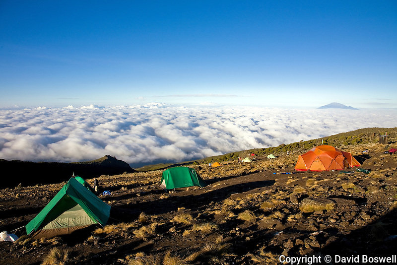 The view from Karanga Camp on Mount Kilimanjaro.  Mount Meru is seen in the Background.