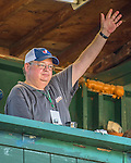 2 August 2016: Official Scorer Bruce Bosley gives a signal from the press box during a game between the Connecticut Tigers and the Vermont Lake Monsters at Centennial Field in Burlington, Vermont. The Tigers defeated the Lake Monsters 7-1 in NY Penn League play.  Mandatory Credit: Ed Wolfstein Photo *** RAW (NEF) Image File Available ***