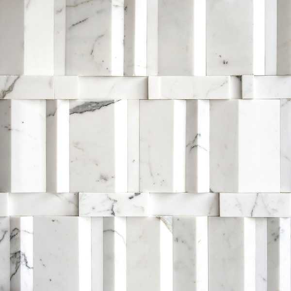 Citt&agrave;, a stone mosaic shown in polished Calacatta, is part of New Ravenna's Studio Line of ready to ship mosaics.<br />