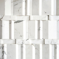 Citt&agrave;, a stone mosaic shown in polished Calacatta, is part of New Ravenna's Studio Line of ready to ship mosaics.<br /> <br /> For pricing samples and design help, click here: http://www.newravenna.com/showrooms/<br /> <br /> For more dimensional design inspiration, visit our Dimensioni Pinterest board: https://www.pinterest.com/newravenna/d-i-m-e-n-s-i-o-n-i/