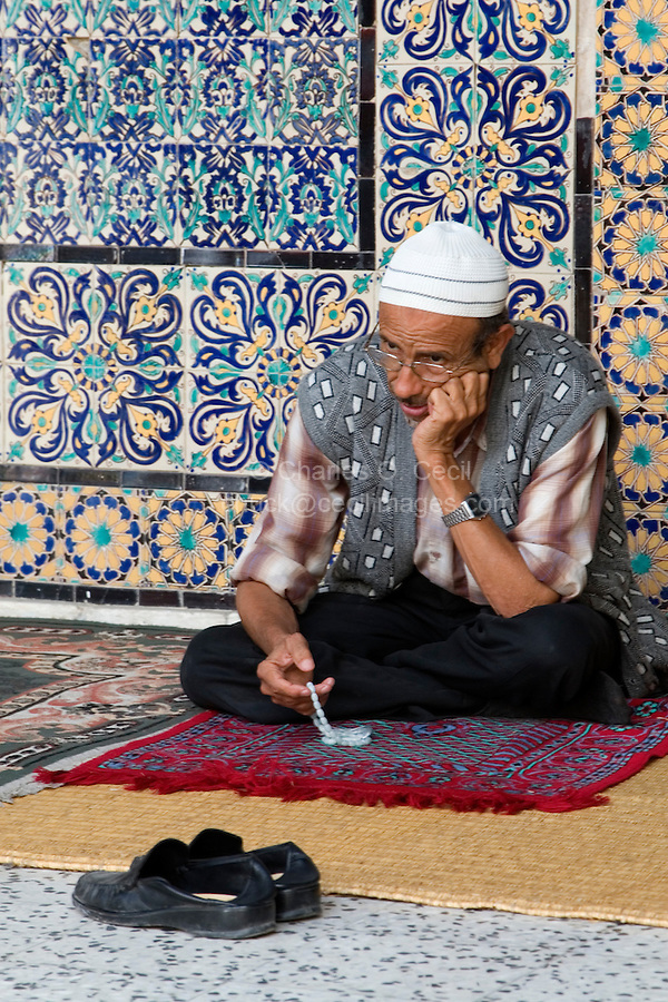 Tripoli, Libya - Man Praying, Using Prayer Beads, Karamanli Mosque, Tripoli Medina